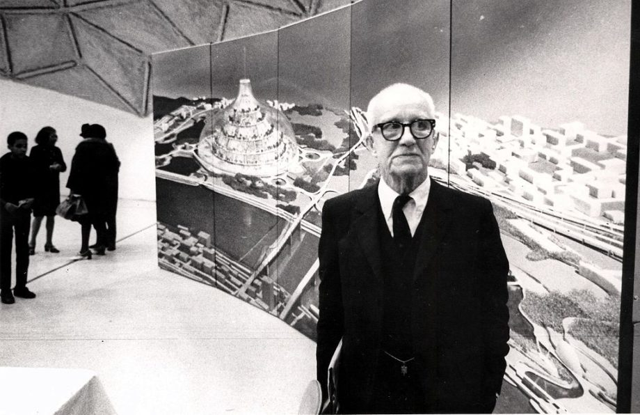Buckminster Fuller and his domed city design, image by Steve Yelvington (CC BY-SA 2.0)